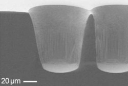 Etching of GaAs via holes using Cl2 / BCl3 / Ar gas mixture
