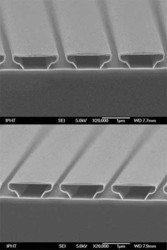 18nm ALD Al2O3 (top) and 21nm PEALD Al2O3 (bottom) showing very good conformality to 3D structures